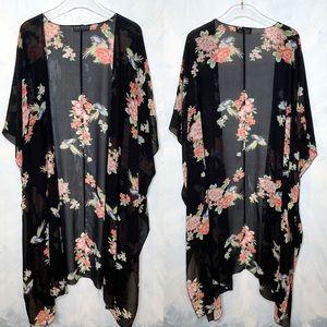 Forever 21 Plus Size Black Floral Kaftan